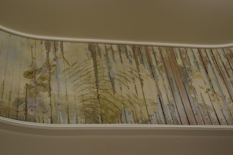 Detail of original, hand-painted skylight in Iannelli's Custom Shoppe, dating back to the original in Marble Hall.