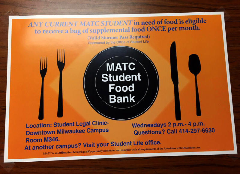 A sign inside MATC's Office of Student Life, where students can go for one bag of canned goods if in need of food.
