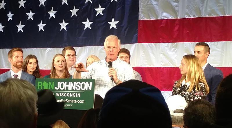 Senator Ron Johnson delivering in victory speech in Oshkosh.