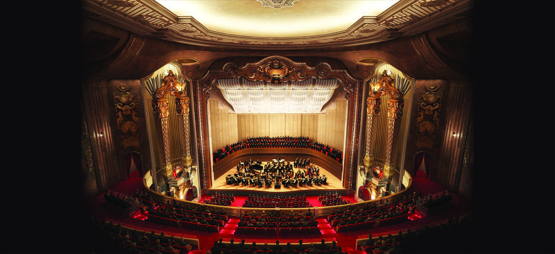 A rendering of the Grand stage from the balcony