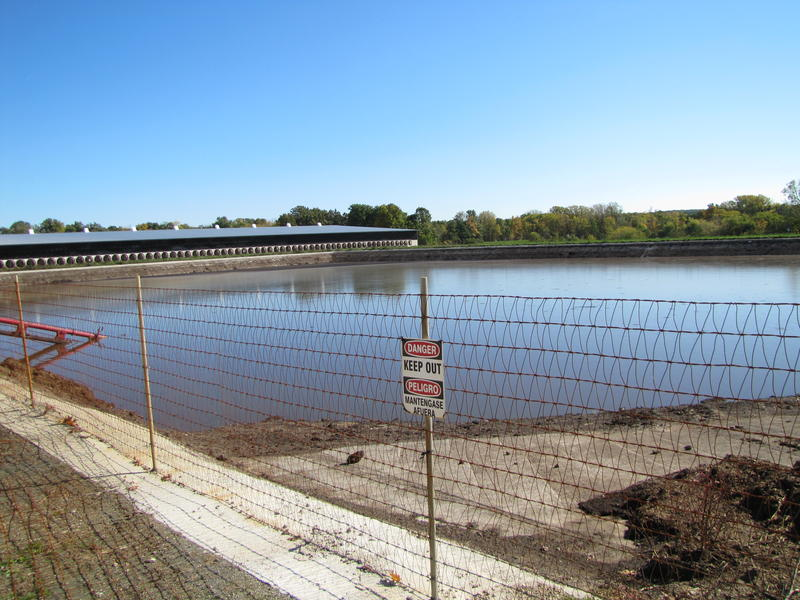 Manure lagoon on Vir-Clar Farms in Fond du Lac County.  Its business development director Grant Grinstead says Vir-Clar has a good working relationship with the DNR.