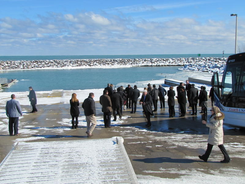 Great Lakes representative stopped along Lake Michigan at Bender Park during their Waukesha water diversion proposal tour last February.