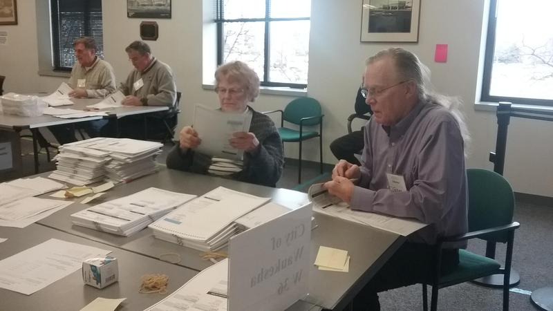 Election workers sift through ballots in Waukesha County on Wednesday.