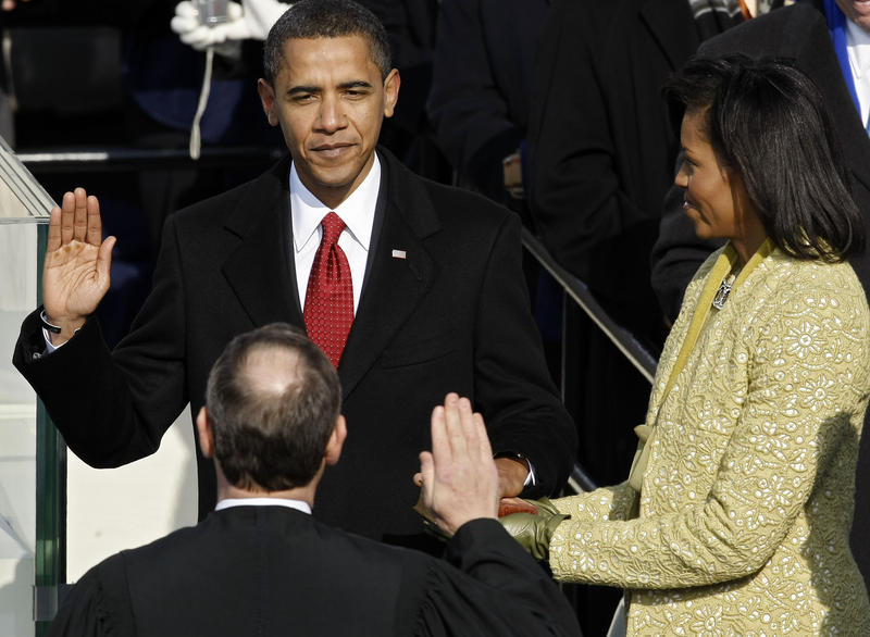 Barack H. Obama is sworn in by Chief Justice John Roberts as the 44th president of the United Statesas on the West Front of the Capitol on January 20, 2009 in Washington, DC.