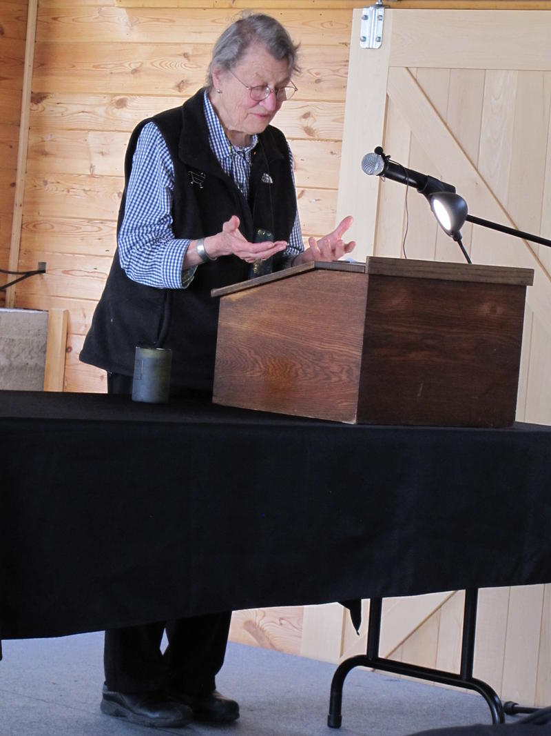 Estella Leopold speaking at the Aldo Leopold Foundation outside of Baraboo in May 2016.