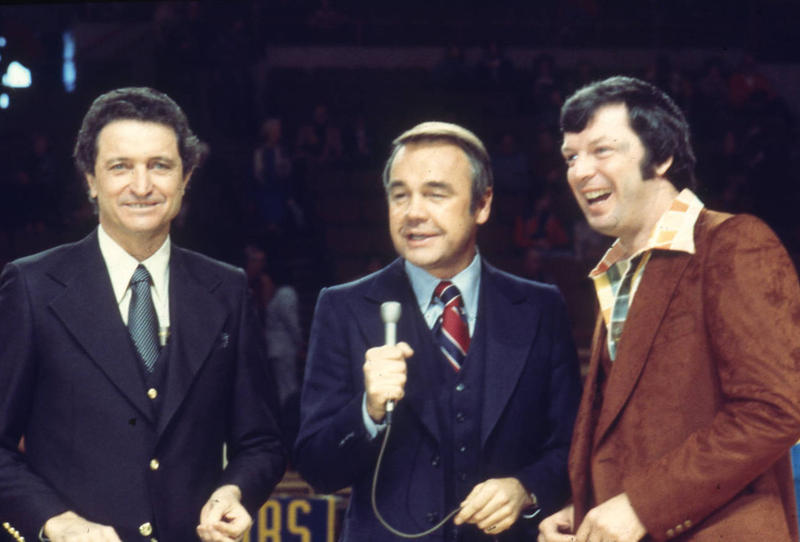 Al McGuire (left), Dick Enberg, and Digger Phelps during a college basketball broadcast (undated photo).