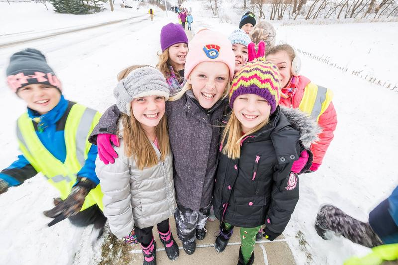 Kids participate in a walking event in Juneau in Dodge County, Wisconsin.