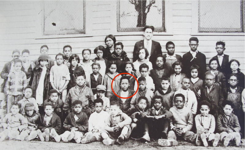 Dr. James Cameron, circled here at age 14, two years before his death. Lynching victim, Tommy Shipp, stands to the teacher's immediate left.