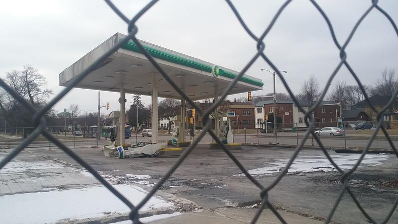 The damage is still on display at the BP gas station.