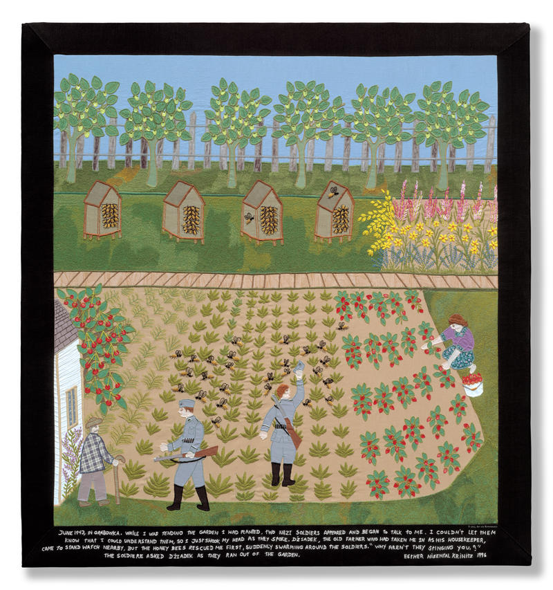 """The Bees Save Me""  Embroidery and fabric collage, 1996. 31 11/16"" x 34"""