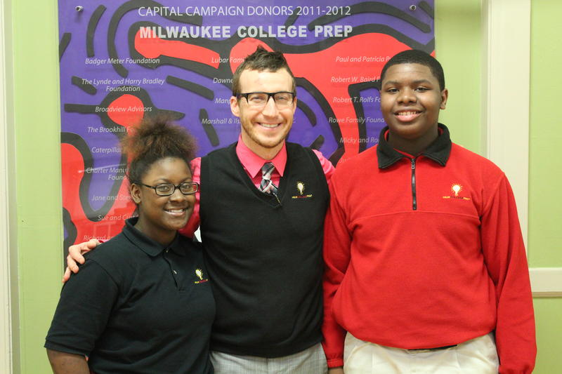 Eighth graders D'Jakya Graves-Smith (left) and Randy Brownlee with their principal, Mark Ketterhagen, at Milwaukee College Prep's Lloyd Street Campus.