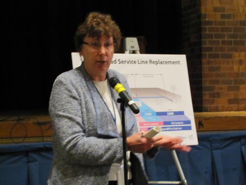 Carrie Lewis at neighborhood meeting held at North Division High School in December.