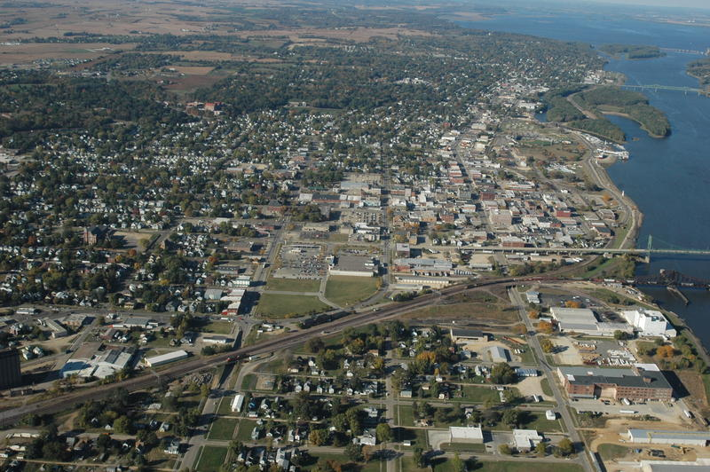 An aerial view of Clinton, Iowa.