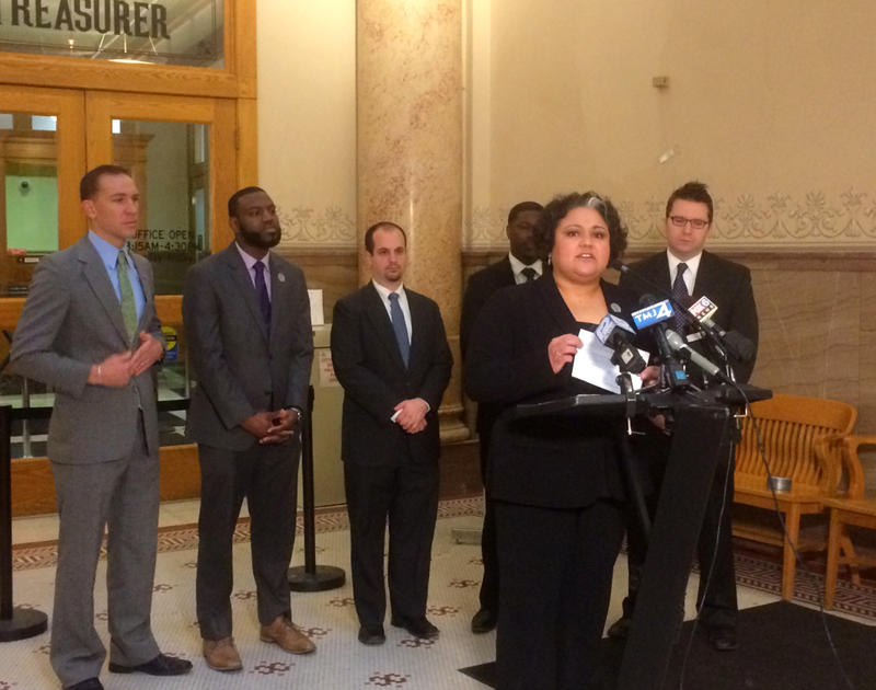 Rep. JoCasta Zamarripa speaking on Monday's press conference.