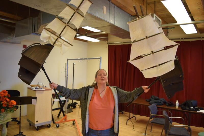 Lisa Schlenker demonstrates the shipwreck puppet