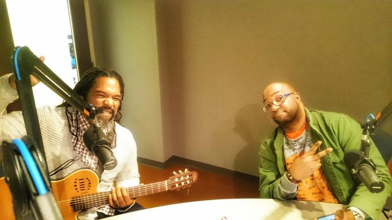 Randy Preston and Kwame Alexander sitting in studio.