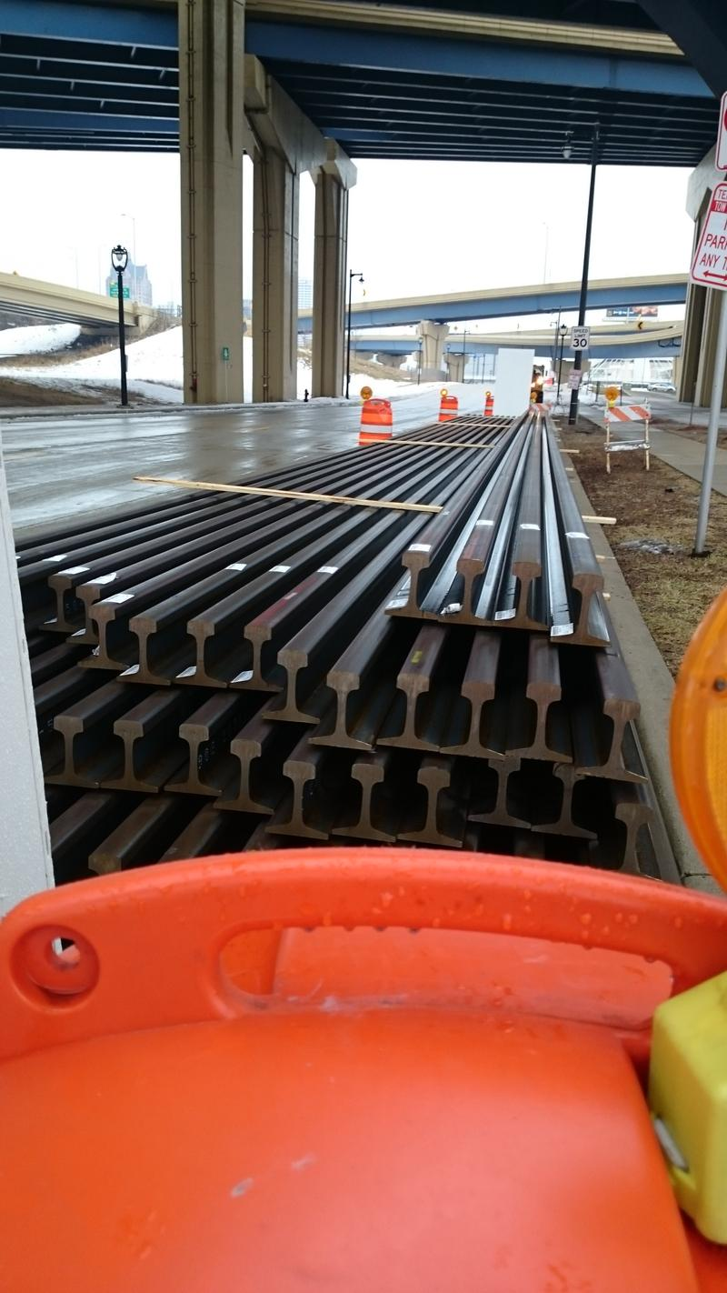 The tracks are being stored along St. Paul Avenue, west of the Milwaukee Intermodal Station.