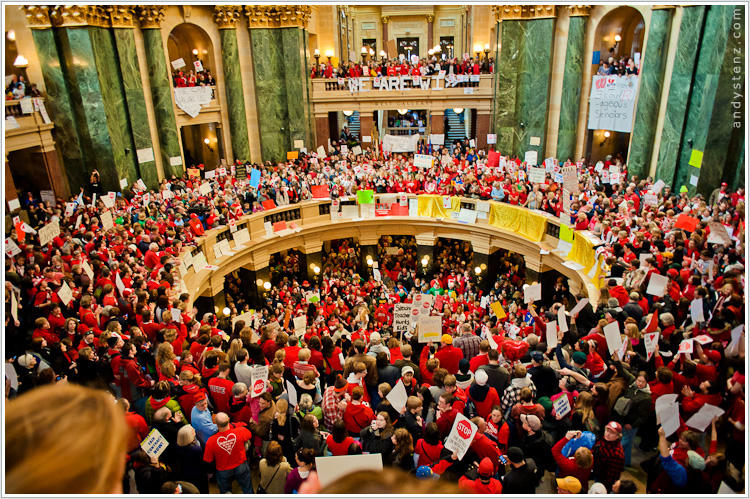 Public workers and others flocked to Madison six years ago to protest Gov. Walker's cuts to collective bargaining rights