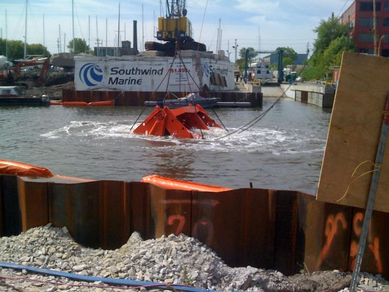 Dredging of the lower Kinnickinnic River.