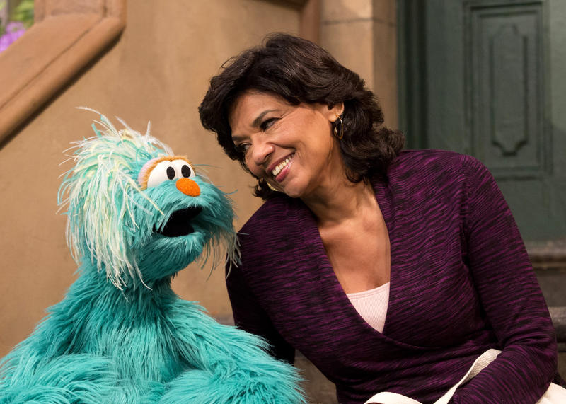 Sonia Manzano joins her Sesame Street pal Rosita on set.