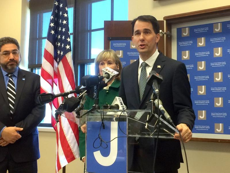 Gov. Scott Walker announces assistance on Wednesday to the JCC in Whitefish Bay