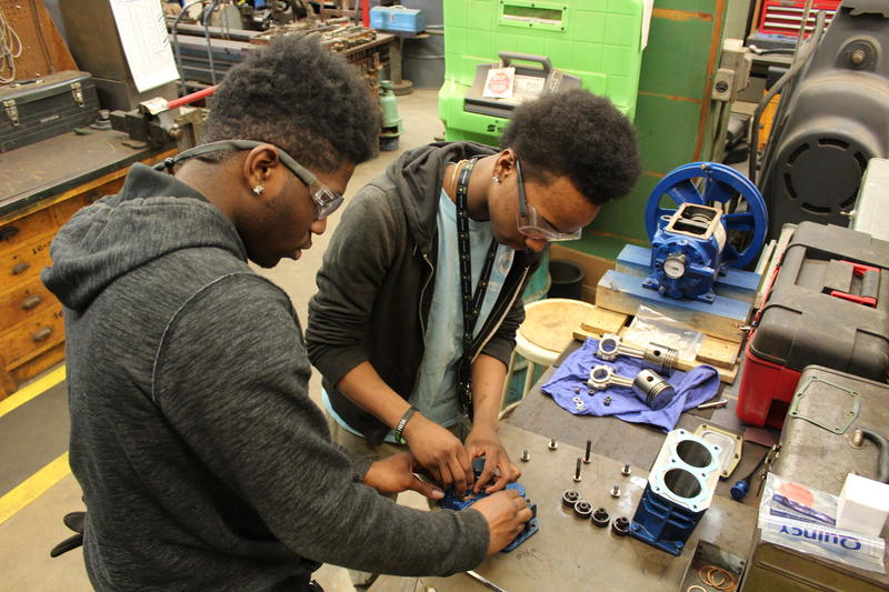 Bradley Tech seniors Markell Crawford (left) and Desmond Glenn work on a project at their apprenticeship site -- the MPS Facilities and Maintenance shop.