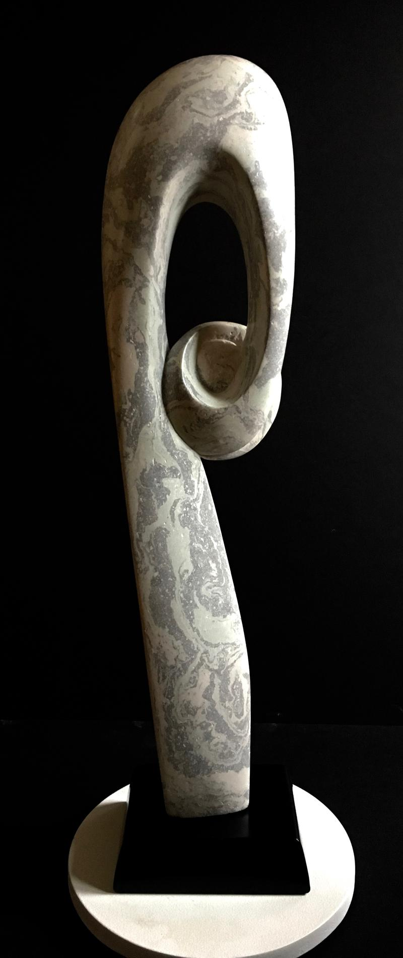 """Fiddlehead"", Carved Portland Cement"