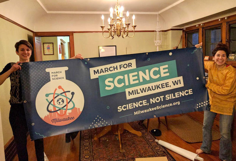Mandi McAlister and Nora Sadik, two of Milwaukee organizers prepare for Saturday's March for Science.