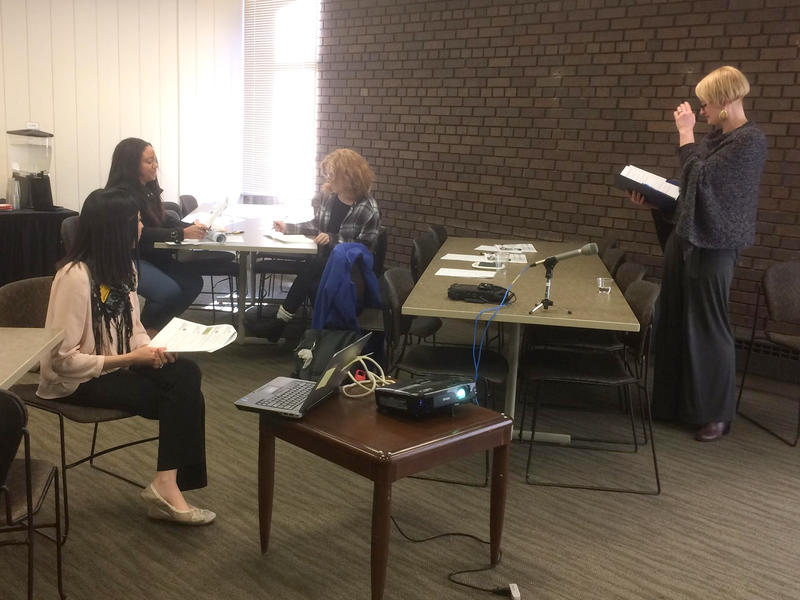 UWM students and facilitators practice during Equal Pay Day Salary Negotiation Program.