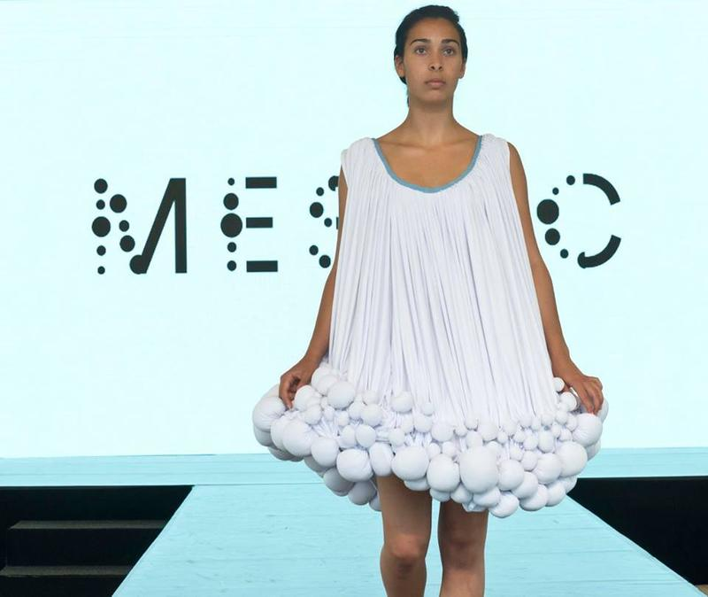 Dress made from Mestic, at the Mestic Clothes from Cow Manure fashion show.