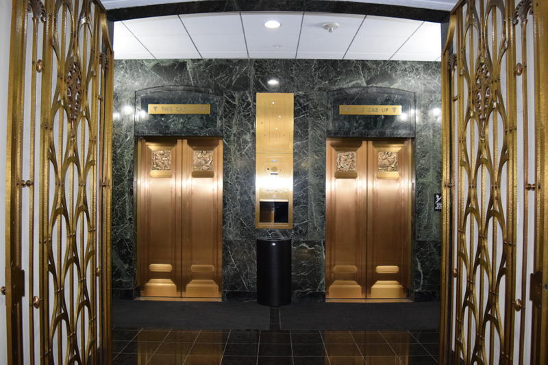 Elevators inside Gas Light Building.