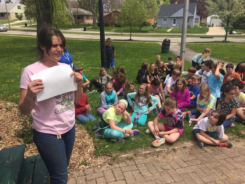 """Scientist in Residence"" Kendra Swanson explains an activity to her fourth grade students in Cedarburg."