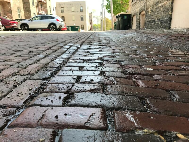 A cobblestoned street in Milwaukee.