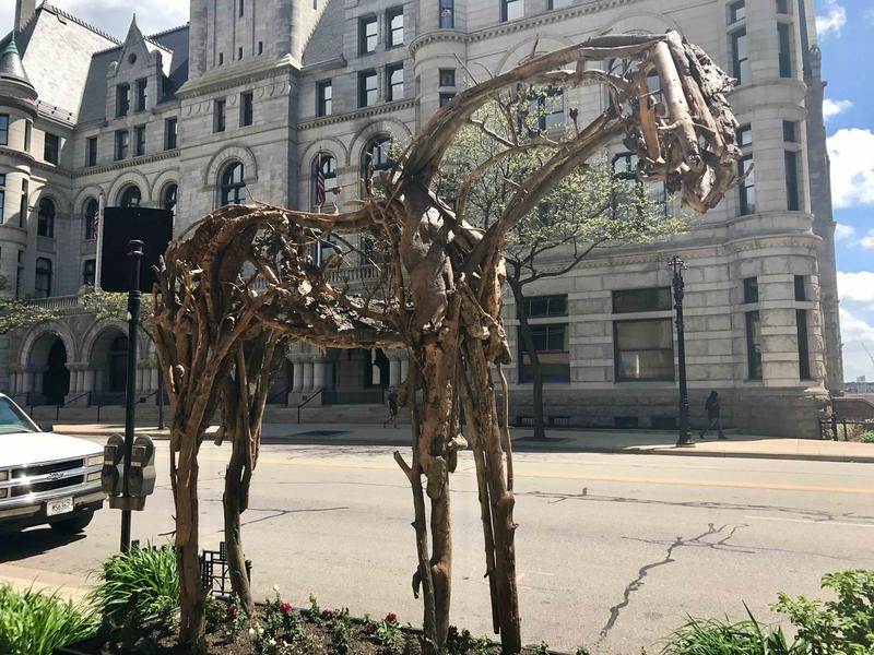 This sculpture by Deborah Butterfield is on the corner of Wisconsin and Jefferson