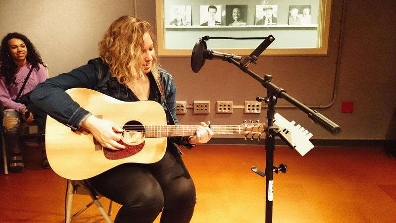 Singer-songwriter Carmel Mikol, playing in the Lake Effect performance studio