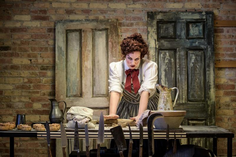 "Christina Hall (Mrs. Lovett) in Skylight Music Theatre's ""Sweeney Todd."""