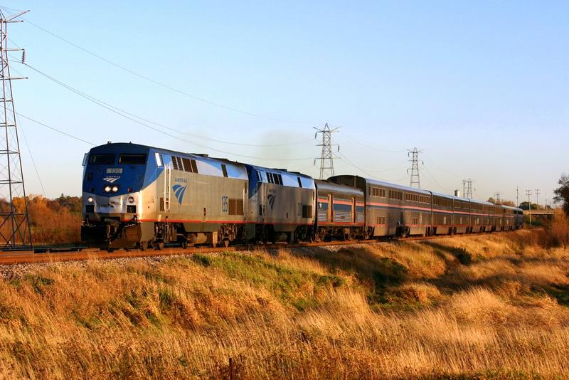 The Amtrak Empire Builder train, traveling through Wisconsin.