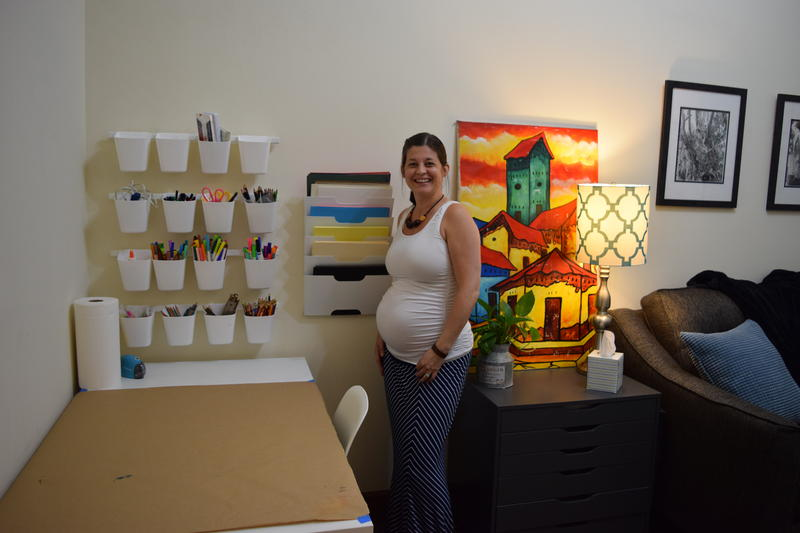 Like other offices at Bloom, therapist Ashley Smallwood's space includes places for art supplies and art-making.