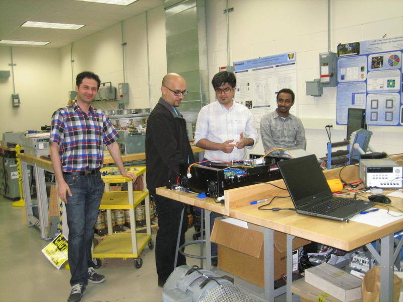 Nasiri's PhD students working in the energy distribution lab.
