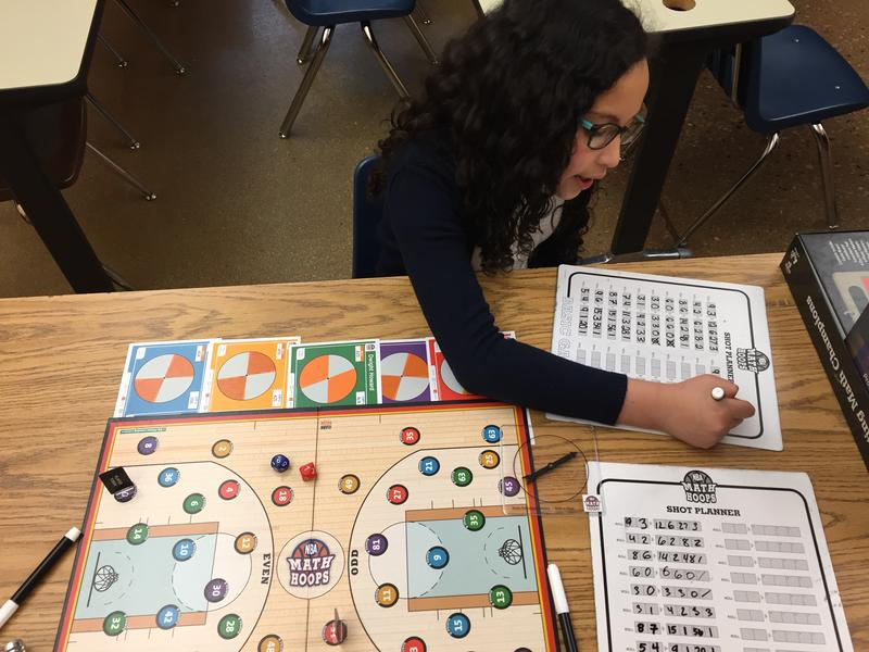 "Fourth grader Cecilia Tatum plays ""Math Hoops"" afterschool at Bruce Guadalupe elementary."