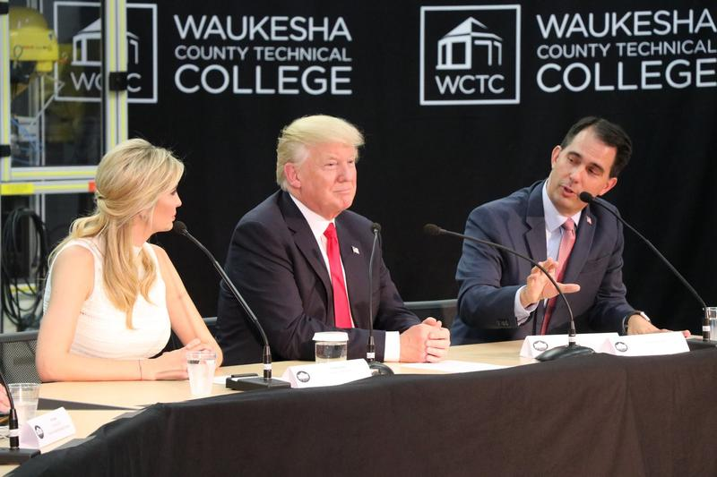 Ivanka Trump, President Donald Trump and Governor Scott Walker speaking at a panel discussion at Waukesha County Technical College.