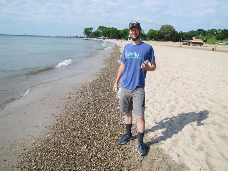 Michael Timm at Bradford Beach - one of the places explored in his new app.