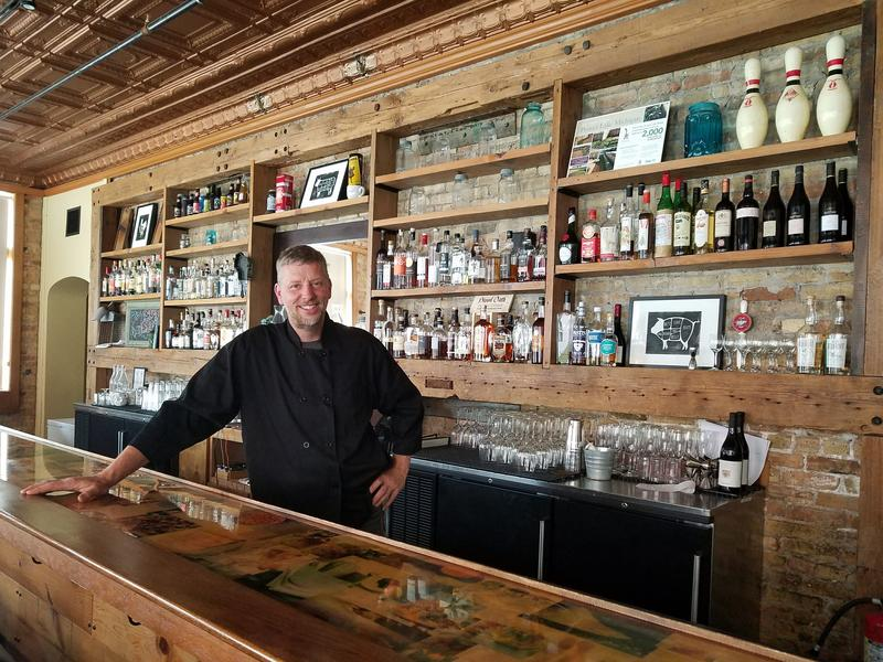 Chef and owner Dave Swanson behind the bar at Braise Restaurant.