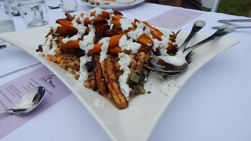 Spiced eggplant and carrots with swiss chard, garbanzos, farro, and tzatziki by Bavette.