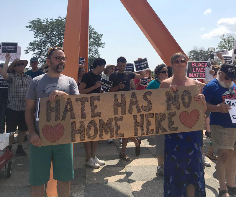 People rallied against white supremacy on Saturday in Milwaukee's O'Donnell Park.