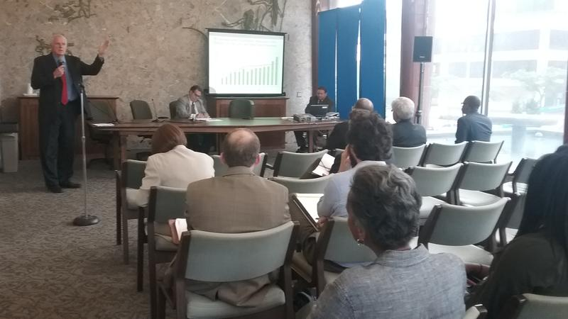 Mayor Tom Barrett presided over a public meeting on the city budget Tuesday night