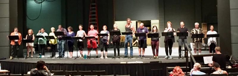 "Members of the cast in ""A Chorus Line"""