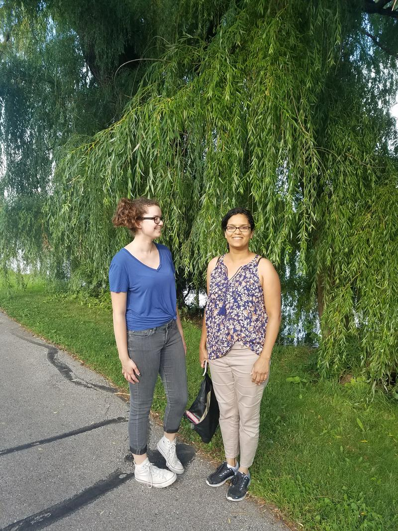 Evangelina and Amelia Cleereman on a walk by the lagoon
