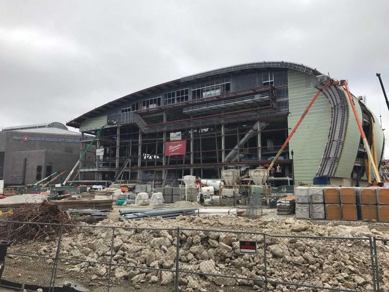 Construction of the new Milwaukee Bucks area has reached the halfway point.
