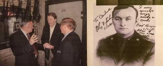 (L) Juretzko and Kalugin in front of Stasi cell door at the SafeHouse. (R) Photograph signed by KGB Major General Oleg Kalugin.